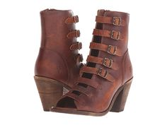 Cognac brown italiam leather open toe strappy bootie Frye® Izzy Belted Short boot at Zappos.com Mobile Site