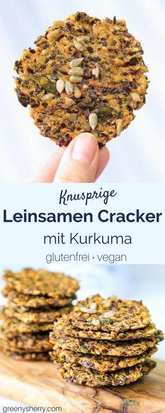 Glutenfreie Leinsamen-Cracker mit Kurkuma und Curry (vegan) lowcarb www. Flax Seed Crackers, Law Carb, Vegetarian Recipes, Healthy Recipes, Free Recipes, Vegetarian Lifestyle, Paleo Food, Vegan Foods, Gluten Free Vegan