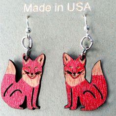 FOX laser-cut wood earrings Green Tree Jewelry CHERRY RED made-in-USA 1292 #GreenTreeJewelry #DropDangle