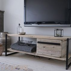 TV-audio furniture is of METAL, it is a beautiful, spacious TV unit, made up of a combination of a fine steel frame and shelves of the old, naturally-aged wood. Furniture, Home Living Room, Home, Living Room Shelves, Indoor Furniture, New Homes, Living Room Tv Stand, Home And Living, Living Room Tv