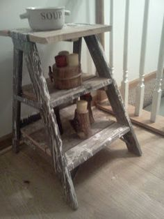 Handmade Rustic & Log Furniture: Rustic Ladder Shelves and end tables/night stands