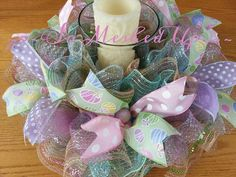 Pretty pastel Easter/Spring deco mesh table by SoMeshedUp on Etsy Easter Table Decorations, Holiday Centerpieces, Table Centerpieces, Easter Centerpiece, Easter Decor, Easter Wreaths, Holiday Wreaths, Spring Wreaths, Easter Crafts