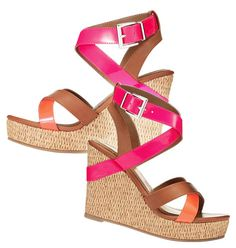 """Strappy wedge in hot spring colors. Platform sole makes a high heel comfy and easy to walk in. Leatherlike upper. Straw-covered platform with 3 5/8"""" heel. Skid-resistant sole. On sale now for only $19.99!"""