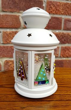 Fused Glass Christmas Lantern, Decoration, Gift, Tree, Holidays, Tea Light Stained Glass Lamps, Fused Glass Art, Dichroic Glass, Tea Light Candles, Tea Lights, Soy Candles, Fused Glass Ornaments, Snowman Ornaments, Lanterns Decor