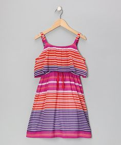 Take a look at this Fuschia Stripe Fiesta Dress - Girls by Apollo on #zulily today!