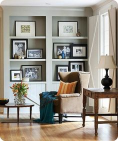 Photo Display Ideas + Tips and Tricks wide mattes for frames layered on shelves from thehouseofsmiths.com