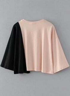 The tee shirt is featuring round neck, three quarter length sleeve, color block, bow, loose fit. Indian Fashion Dresses, Girls Fashion Clothes, Teen Fashion Outfits, Girl Fashion, Girl Outfits, Crop Top Outfits, Cute Casual Outfits, Pretty Outfits, Pretty Dresses