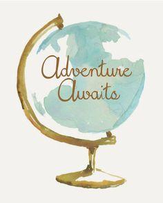 8X10 adventure awaits - globe - world - little boy - Download - Digital - Printable