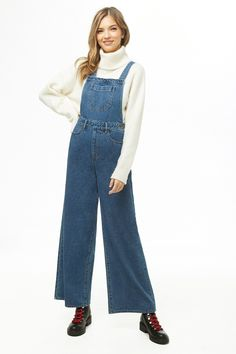 4461089b741 Contrast-Stitch Denim Overalls