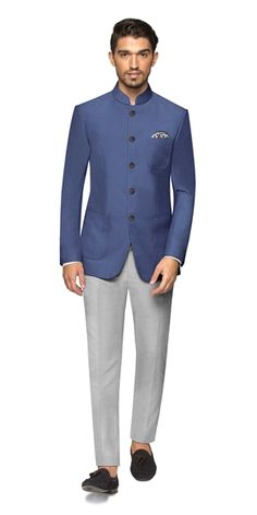 One part elegant one part masculine and completely classic; our Gaia Bandhgala is a chic companion to any festive occasion. Dress Suits For Men, Mens Suits, Men Dress, Nehru Jacket For Men, Nehru Jackets, Wedding Dresses Men Indian, Wedding Dress Men, Wedding Outfits, Indian Formal Wear