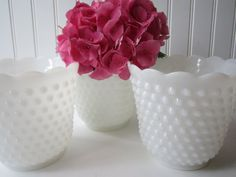 Vintage Trio Milk Glass Hobnail Vases/Planters by mymilkglassshop, $34.50