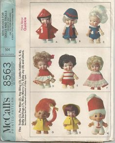 McCalls 8563  Clothing for Trolls  3-4 1/2 Inch dolls  1966    Dresses, shorts, hats, capes and more to fit trolls, peewee, itsy bitsy, liddle kiddles,