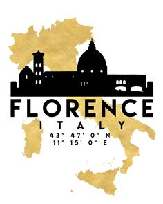 FLORENCE ITALY SILHOUETTE SKYLINE MAP ART -  The beautiful silhouette skyline of Florence and the great map of Italy in gold, with the exact coordinates of Florence make up this amazing art piece. A great gift for anybody that has love for this city.  florence italy downtown silhouette skyline map coordinates souvenir gold deificus art