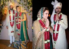 Dia Mirza weds Sahil  The former beauty queen from Hyderabad looked stunning in a green and blue Ritu Kumar sharara paired with a long gold jacket, Sahil looked dapper in a Raghavendra Rathore cream achkan.