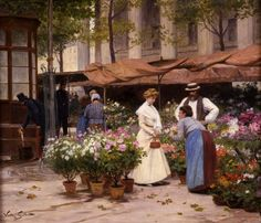 Victor-Gabriel Gilbert (French, 1847 - 1933)  The Flower Market    The Athenaeum
