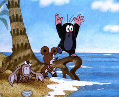 Krtek the little mole beach motif with crab. Kid Puns, Mole, Kids And Parenting, Illustration, Fairy Tales, Nostalgia, Diagram, Cartoon, Retro