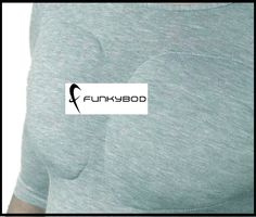 """Pushup Bra for Men Turns Man Boobs into Power Pecs - """"Funkybod Muscle shaping and Moob busting top"""" The padded undershirt effectively serves as the answer to a woman's padded bra, acting as a """"confidence booster"""" for men everywhere. The shirt, which costs about $48, is available in black, white and grey.  The top is meant to compress unsightly man boobs and reshape them into a more muscular-looking build."""