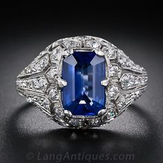 2.50 Carat Art Deco Sapphire Platinum and Diamond Ring