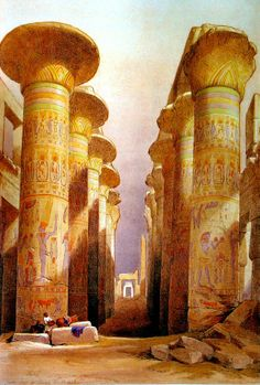 Decorated pillars of the temple at Karnac, Thebes, Egypt. Co Wellcome - Thebes, Egypt - Wikipedia Ancient Ruins, Ancient Greece, Ancient Art, Ancient History, Ancient Egyptian Architecture, Jean Leon, Empire Ottoman, Egyptian Art, African History