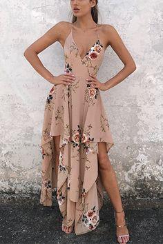 Khaki V-neck Open Back Irregular Hem Dress