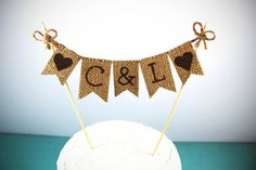 Personalized Cake Topper, Hearts, Rustic Country Barn Wedding Cake Topper, Rustic Cake Topper, Rustic Wedding Cake Topper Burlap Cake Topper