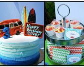 Retro Surf Printable Party Collection- Custom Surf Party. $20.00, via Etsy.