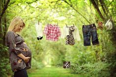maternity photo clothesline- I like this idea. I would put a shirt of Judah's, Violet's and a baby one. Love!!!!