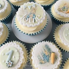 Beatrix Potter Peter Rabbit baby cupcakes - All You Need To Know About Baby Shower Christening Cupcakes, Baby Boy Cupcakes, Baby Cupcake, Cupcakes For Boys, Christening Party, Baby Shower Cupcakes, Cupcake Cakes, Cupcake Toppers, Peter Rabbit Cake