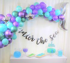 Little Mermaid Party Supplies, Little Mermaid Parties, Mermaid Balloons, Purple Balloons, Balloon Arch, Balloon Garland, Balloon Ideas, Balloon Decorations, Ballons Violets