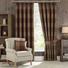 Wine Highland Check Lined Pencil Pleat Curtains | Dunelm