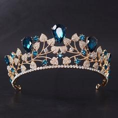 Rhinestone women Tiara Bridal wedding Crown Fashion Leaf style Hairbands Blue zirconia crystal Party Hair Jewelry accessories