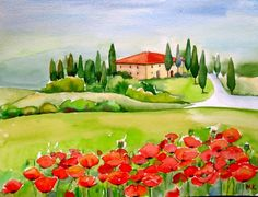 """"""" Spring in Tuscany """"Landscape Watercolor Painting © Meltem Kilic"""