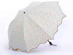 Honeystore Two Folding Dome Parasol Flouncing Flower Printed Travel Sun Umbrella Beige >>> For more information, visit image link.