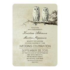 Owl Wedding Invitations Vintage rustic wedding invitations with OWL couple