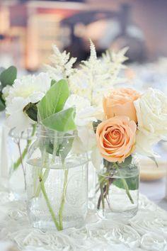 peach & cream floral centerpiece... photo by Andrea Dozier.