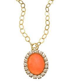 Liz Palacios Large Orange Caboche and Swarovski Crystal Pendant Necklace