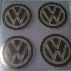 VW Logo Roundels Silver Smart Vinyl CAR Graphics Decals Stickers 65mm Gold | eBay