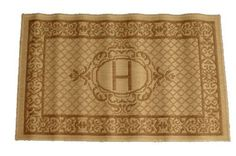 "Geo Crafts ® Lexington Sisalo Monogram Novelty Rug - ""H"" . $34.99. Care: Wash off with hose. Material: Polypropylene yarn. Design: ""H"". Price Includes: 1 Monogram Rug initialed ""H"". Size: 60cm x 100cm or approximately 24"" x 39"". Personalize your home with the Geo Crafts ® Lexington Sisalo Monogram Novelty Rug - ""H"". Initialed rugs and doormats have been Geo Craft's specialty for many years. Because this rug is loomed with the finest polypropylene yarn know for st..."