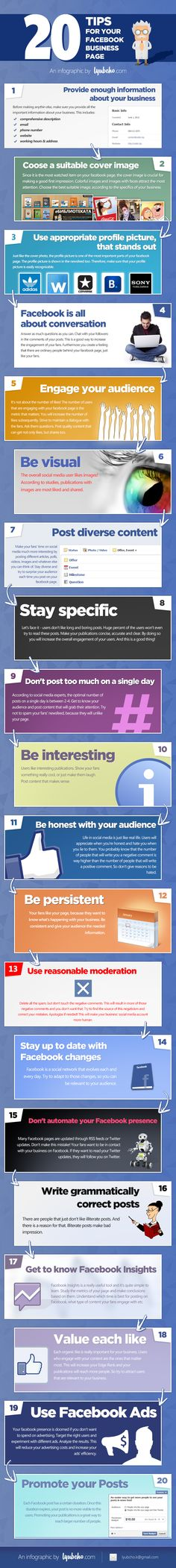 #Infographic: 20 Tips for your Facebook Business Page http://sco.lt/8XLktF Check out this infographic for an overview of the basic principles for running a successful business presence on #facebook and 20 #tips that offer guidance, best practices and reminders for optimizing page posts, activity and images.
