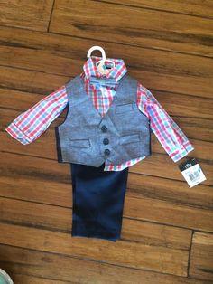 TFW 4pc Toddler Boys Dress Suit Shirt Vest Pants Bowtie Size 6 to 9 Months Baby | eBay