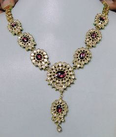 vintage 20 ct Gold Diamond kundan meena necklace by TRIBALEXPORT, $5850.00