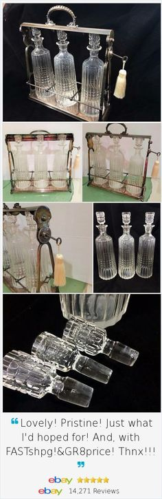 If you are looking to add a touch of antique elegance to your bar and your bourbon, consider this gorgeous set. #WMF Antique #Tantalus has 3 crystal Decanters, made in Germany with lock and key.