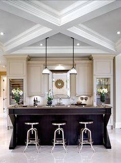 Kitchen Cabinet Ideas. Cabinet with X Mullion design. Island has x mullion design on both sides. #Cabinet #XMullion #KitchenCabinet. Designed by Jane Lockhart