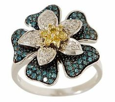Affinity Diamond 1/2 ct tw Flower Design       Sterling Ring