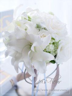 Yu's fleur (ユーズフルール)Wedding flower 港区ベイエリア flower Salon ホワイトグリーンのリボンブーケ