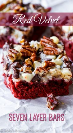 There are 7 layers to love in these chewy, gooey, sweet red velvet seven layer bars!