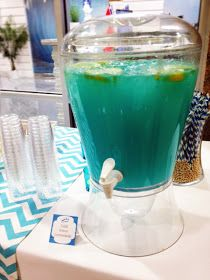 Blue Punch Recipe  1 pkg. blue raspberry kool-aid  1 can minute maid frozen lemonade  2 liter bottle of sprite   water