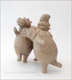 Sculpture of a group of happy hippos who have been celebrating Spring by dancing and drinking. Hand-modelled in grogged white clay, fired and glazed at 1050°C / 1000°C More hippos can be seen in my...