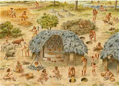 Vida cotidiana en Neolítico Pleno. Ilustración: Francesc Ràfols. Pastwomen History For Kids, Art History, Ancient History, Historical Architecture, Archaeology, Indigenous Tribes, Early Humans, Iron Age, Paleo Life