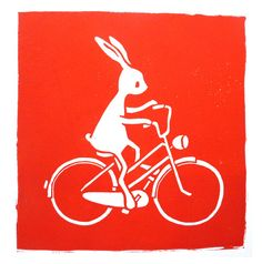 I want to ride my bicycle  original linocut art by puikeprent, €21,50